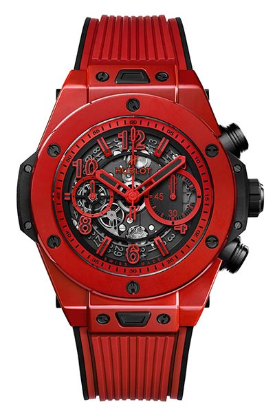 HORLOGERIE – Montre rouge: Hublot Big Bang Unico Red Magic. Photo: © Hublot.