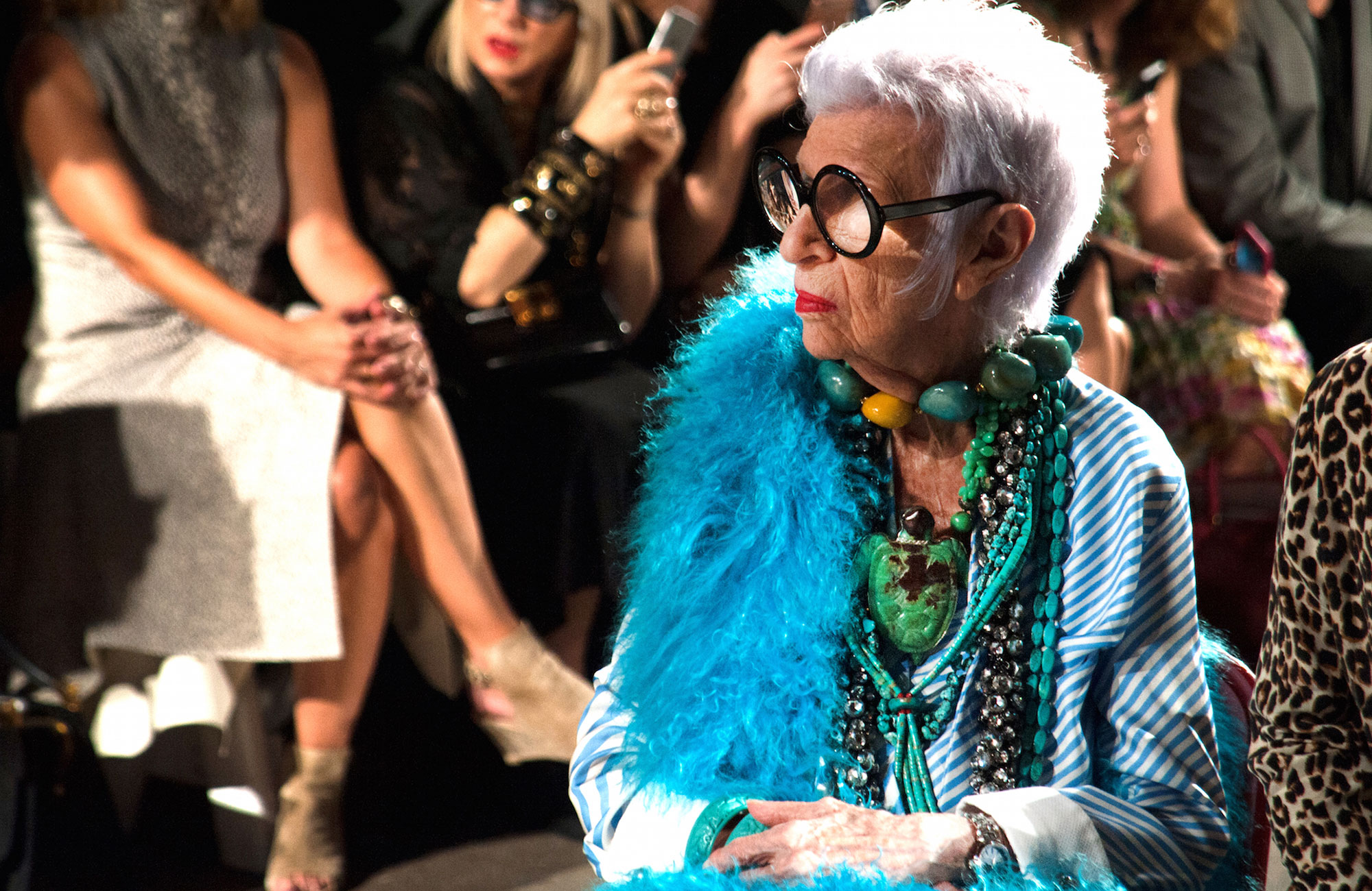 Iris Apfel, during the Monse parade in New York, in September 2016. Photo: © Tag Heuer.