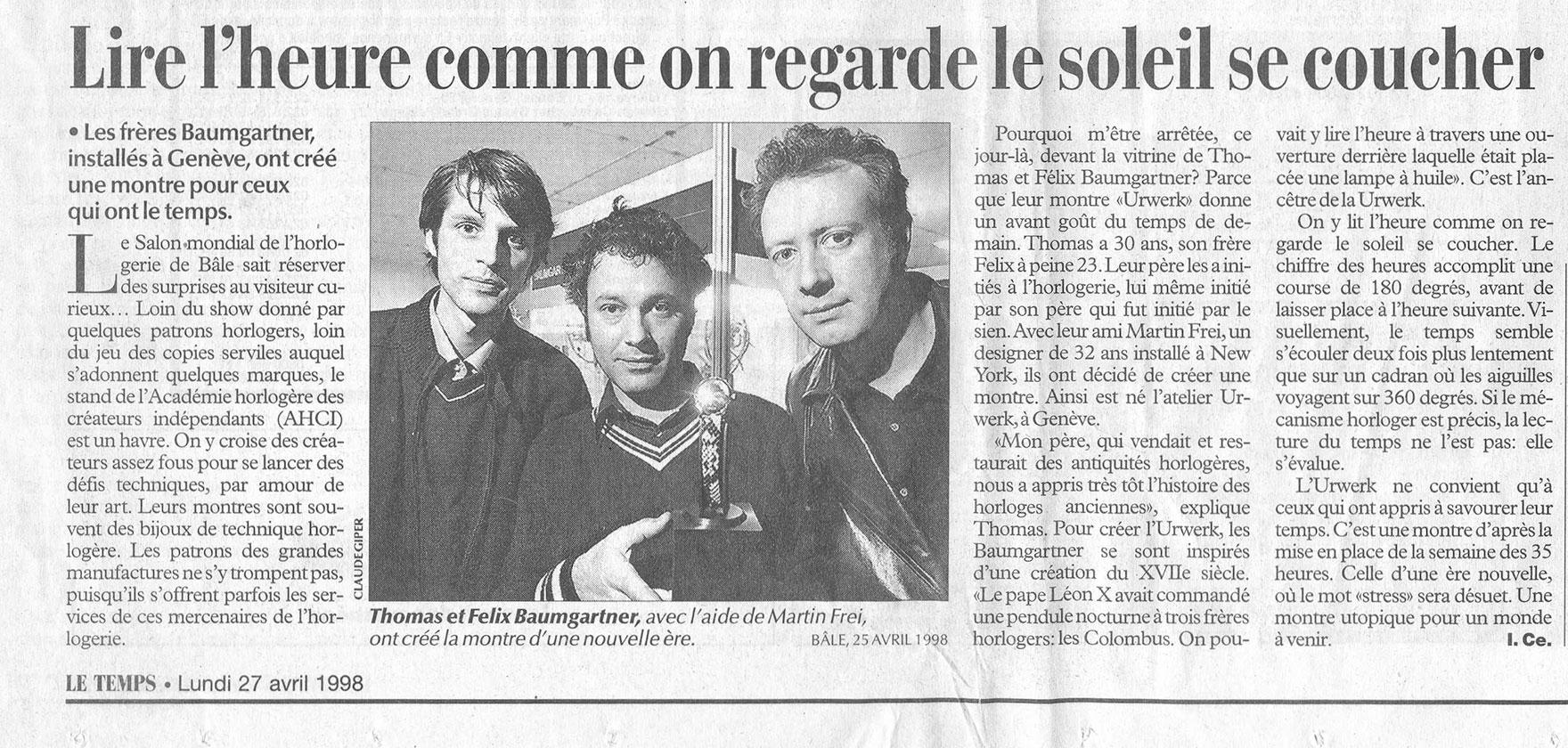 Le Temps, April 1998