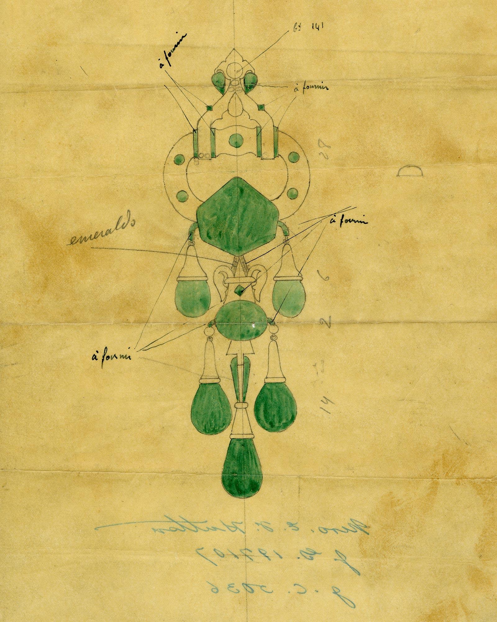 Dessin de création de la broche pendentif, Cartier Londres, 1923, remaniée par Cartier New York, 1928, H. 20,32 cm. Hillwood Estate, Museum & Gardens, legs de Marjorie Merriweather Post, 1973. Archives Cartier New York.