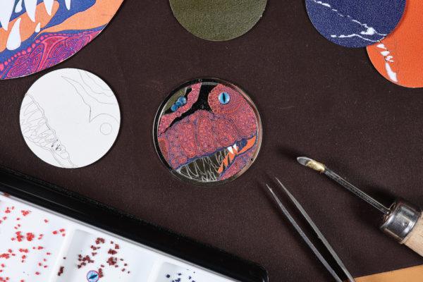 Arceau Pocket Aaaaargh! Hermès, micro mosaïque de cuir ®David Marchon