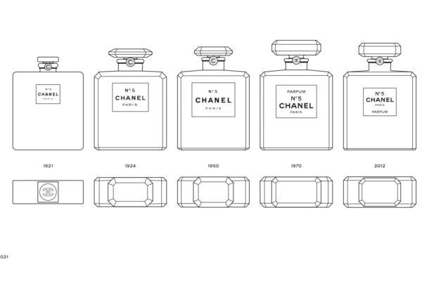 L'évolution du design du flacon du parfum N°5 de Chanel. ©Chanel